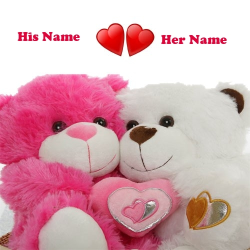 BF and GF Name On Beautiful Love Teddy Pix
