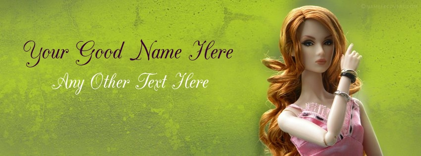 Write Name on Most Beautiful Doll Name Facebook Cover Pix