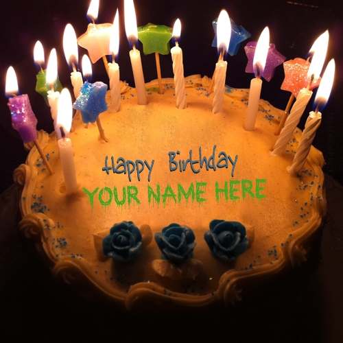 Write Name on Candles Birthday Cake Picture