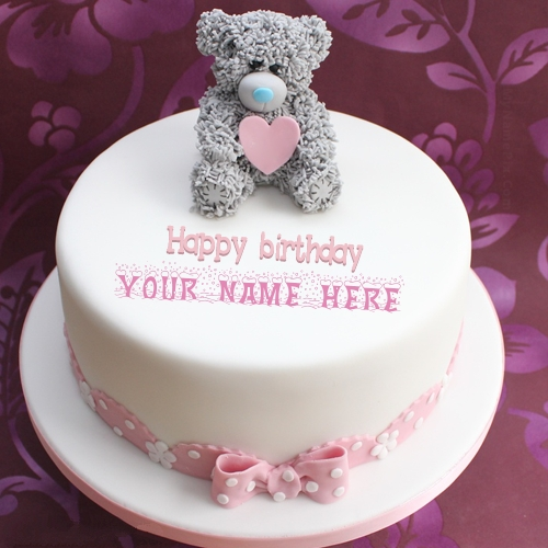 Write Name On Teddy Birthday Cake Profile Picture