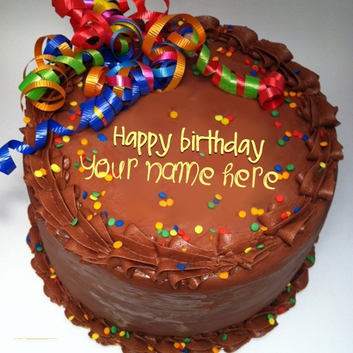 Write Your Name on Party Birthday Cake Pix
