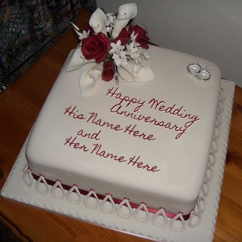 Write Name on Wedding Anniversary Cake Picture
